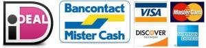 Logos van iDeal, bankcontact/mister Cash en creditcards
