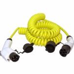 Gespiraliseerde kabel voor het laden van auto's met een type 1 ('Yazaki') aansluiting.