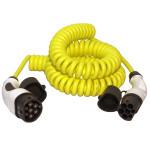 Gespiraliseerde kabel voor het laden van auto's met een type 2 ('Mennekes') aansluiting. Beschikbaarbaar in 4 lengten.