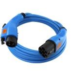 Blauwe laadkabel met ook blauwe stekkers geschikt voor 1 fase 16 ampere (ofwel 3700 watt) laden