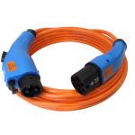 Oranje laadkabel voor elektrische auto met blauwe stekkers (type 1 en 2)