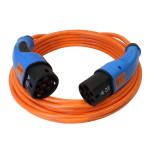 Oranje laadkabel voor elektrische auto met blauwe type 2 stekkers,