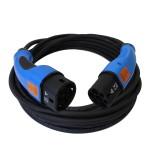 Zwarte laadkabel voor elektrische auto met blauwe type 2 stekkers