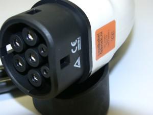 Aanzicht van type 2 stekker (Mennekes) voor elektrische autos van de laadkabelfabriek
