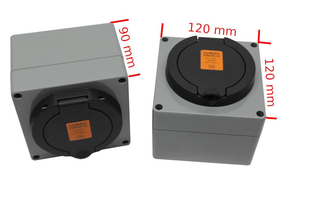 Opbouwbehuzing voor type 2 socket met afmetingen
