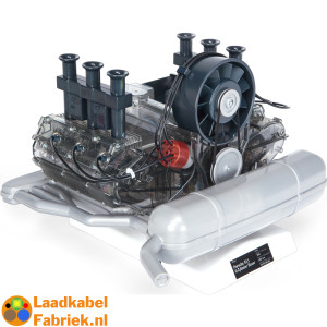 Schale model of Porsche Boxer 911 motor with many moving parts such as pistons, camshaft, distributor and sparks and sound