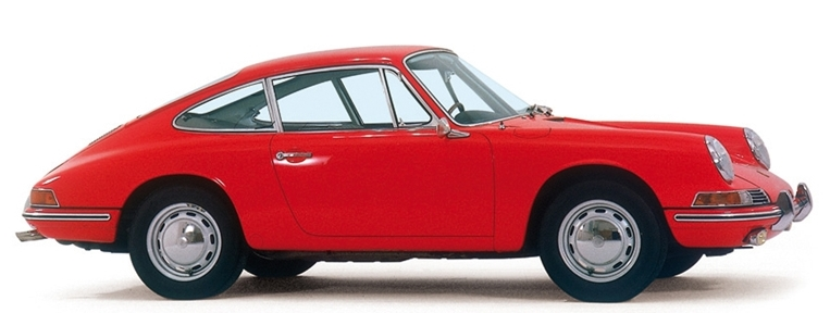 Rode Porsche 911 van bouwjaar 1966