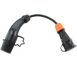 Zwarte type 2 stekker voor elektrisch laden en zwarte schuko contrastekker.