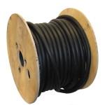 houten haspel met zwarte laadkabel