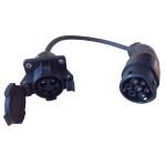 Adapter type 1 naar type 2 met zwarte stekkers en 30 cm laadkabel
