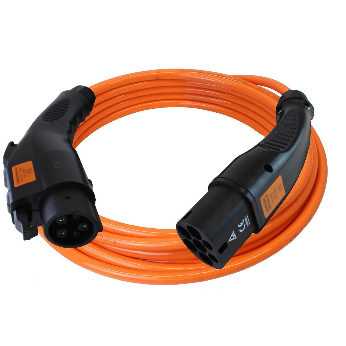 snellaadkabel type 2 naar type 1 7 4 kilowatt 32 amp re 1 fase oranje kabel zwarte. Black Bedroom Furniture Sets. Home Design Ideas