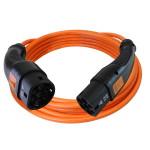 Laadkabel voor electrische en plugin hybride auto's met zwarte stekkers en oranje kabel