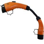 Oranje stekkers met zwarte laadkabel van zo'n 30 centimeter